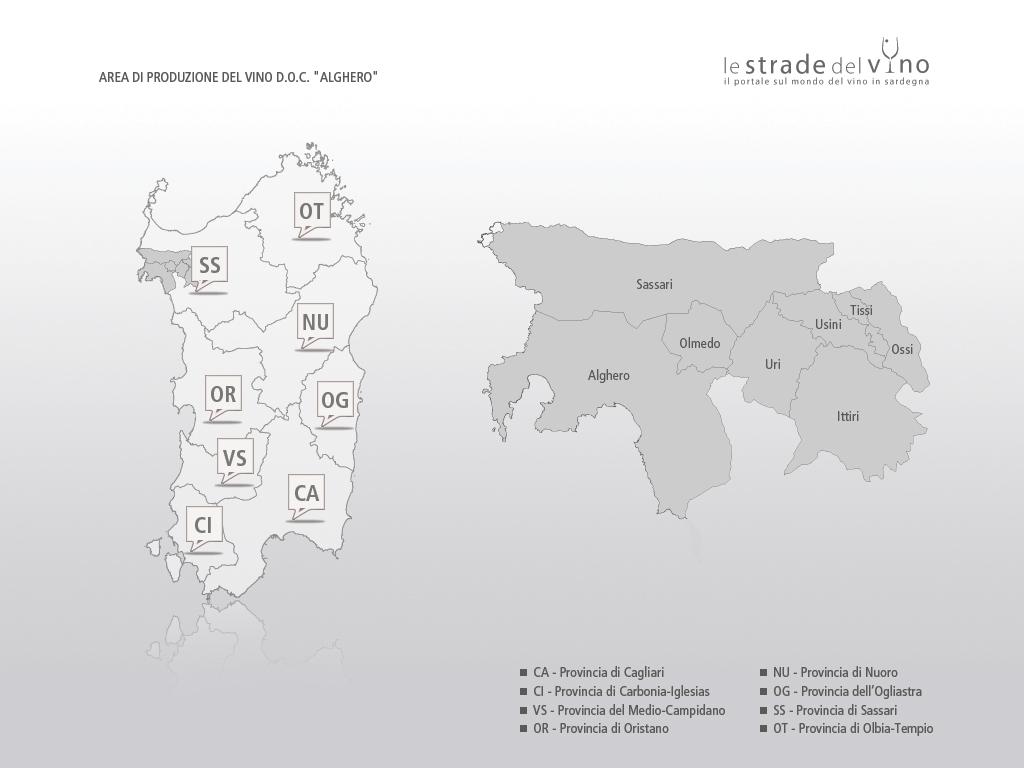 Mappa area di produzione del vino DOC Alghero