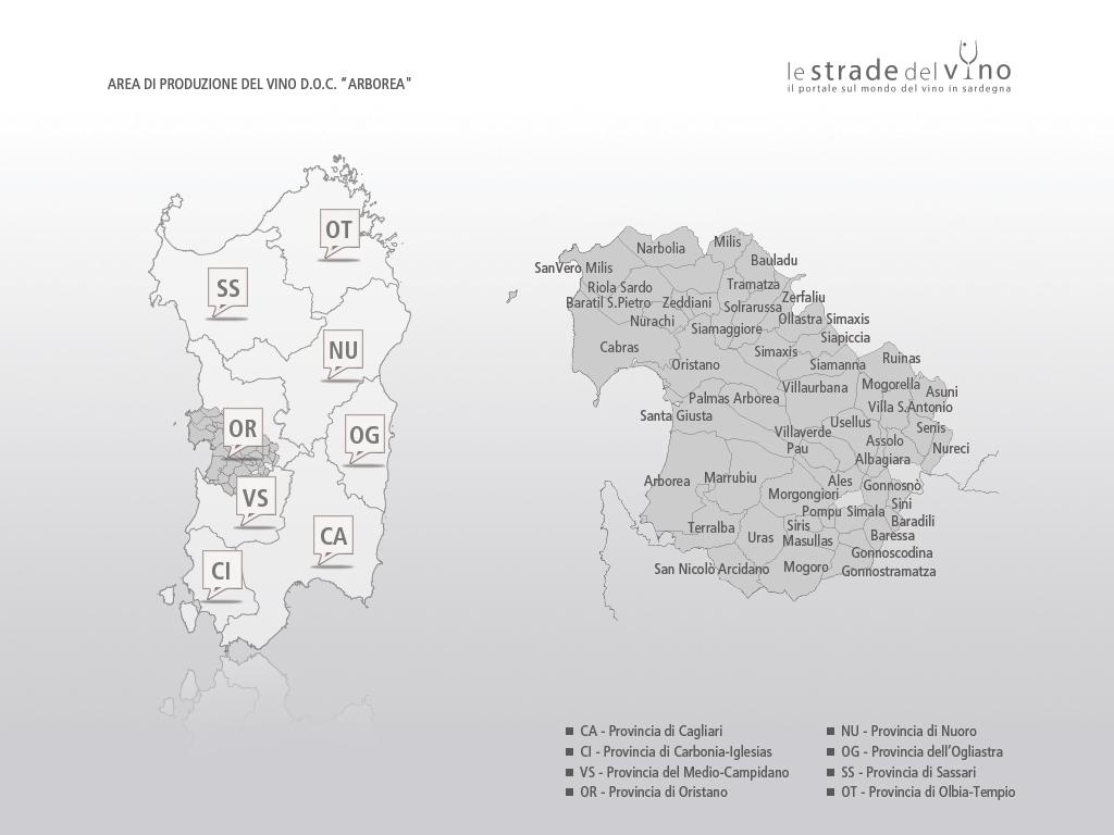 Mappa area di produzione del vino DOC Arborea