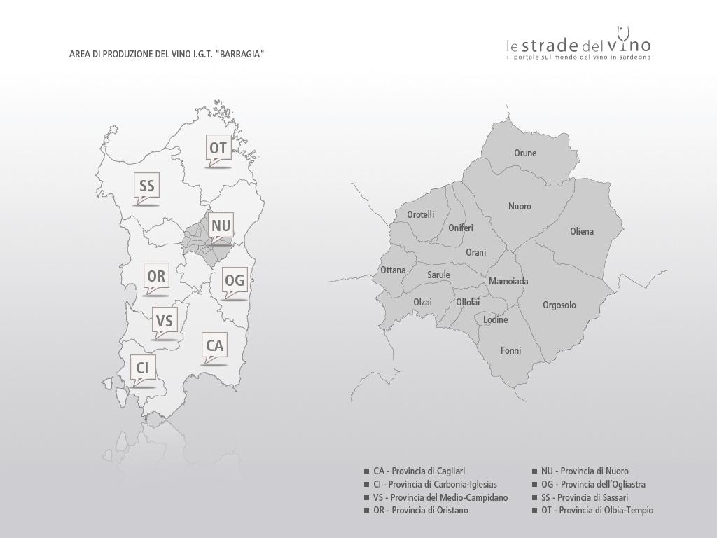 Mappa area di produzione del vino IGT Barbagia
