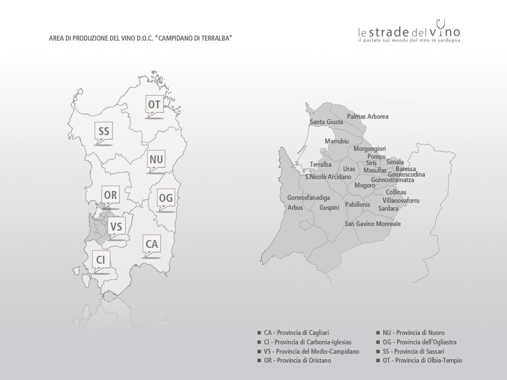 Mappa area di produzione del vino DOC Campidano di Terralba