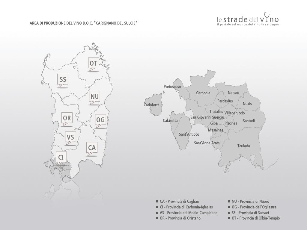 Mappa area di produzione del vino DOC Carignano del Sulcis