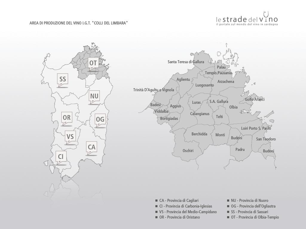 Mappa area di produzione del vino IGT