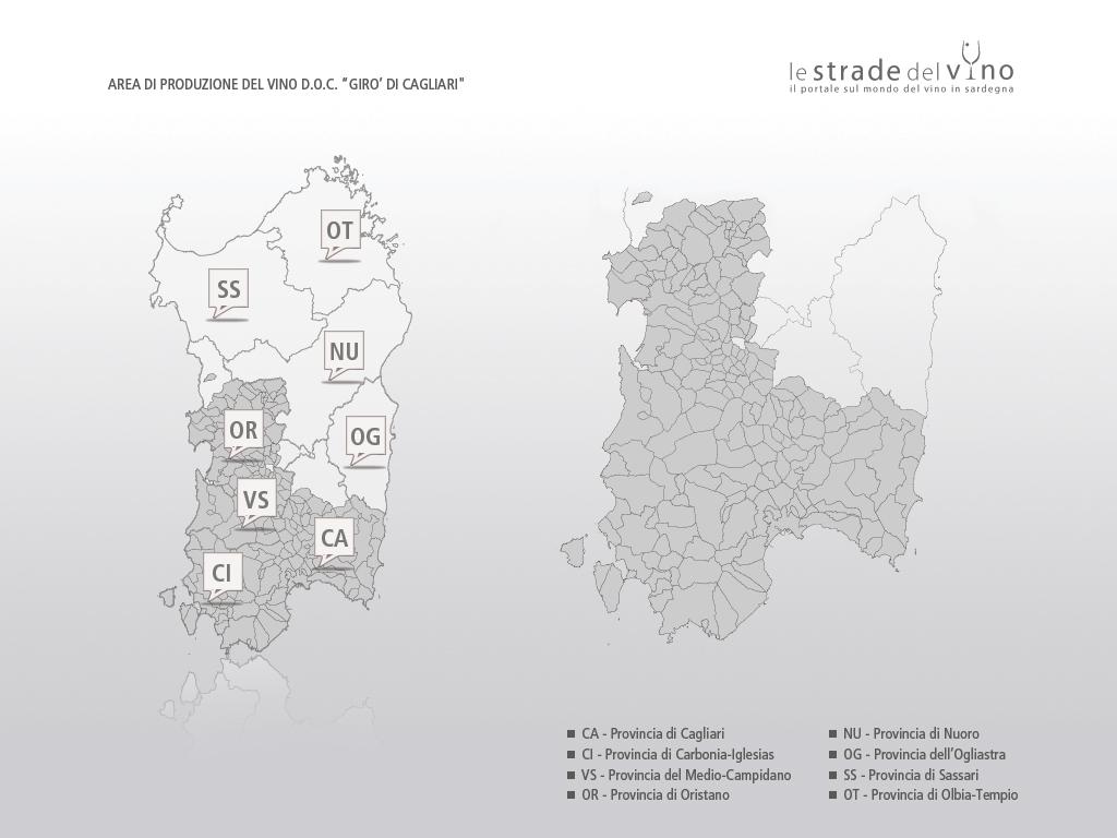 Mappa area di produzione del vino DOC Girò di Cagliari