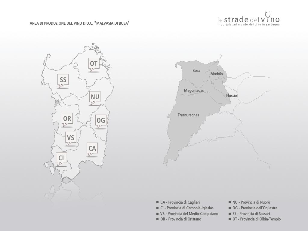 Mappa area di produzione del vino DOC Malvasia di Bosa