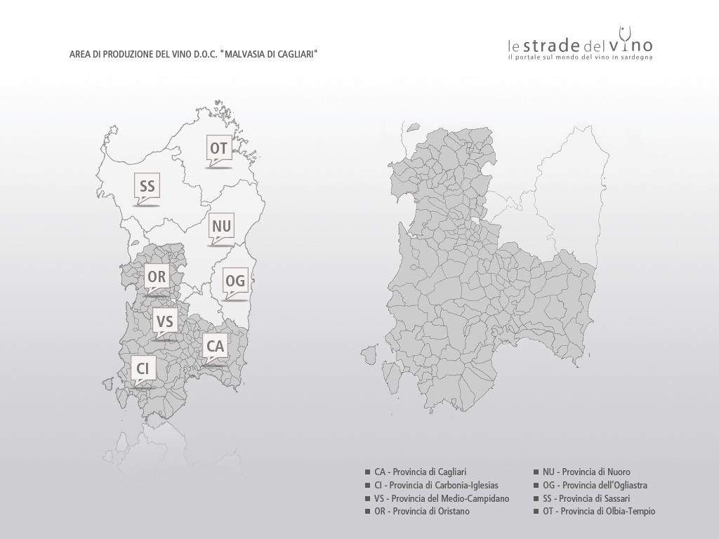 Mappa area di produzione del vino DOC Malvasia di Cagliari