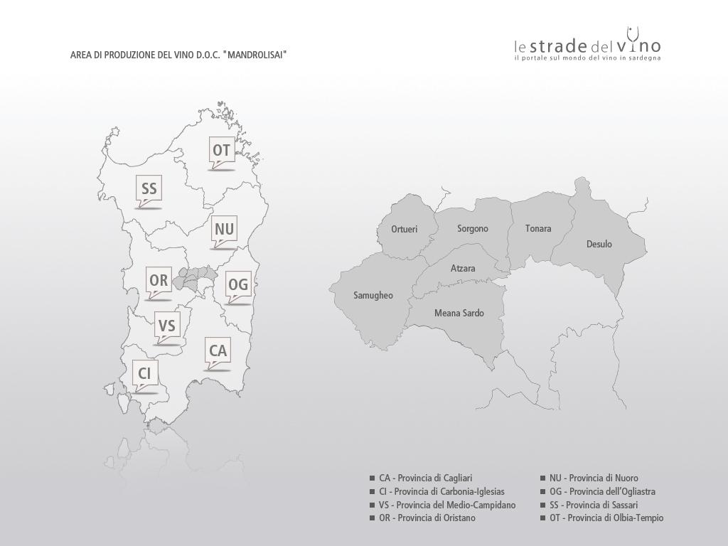 Mappa area di produzione del vino DOC Mandrolisai