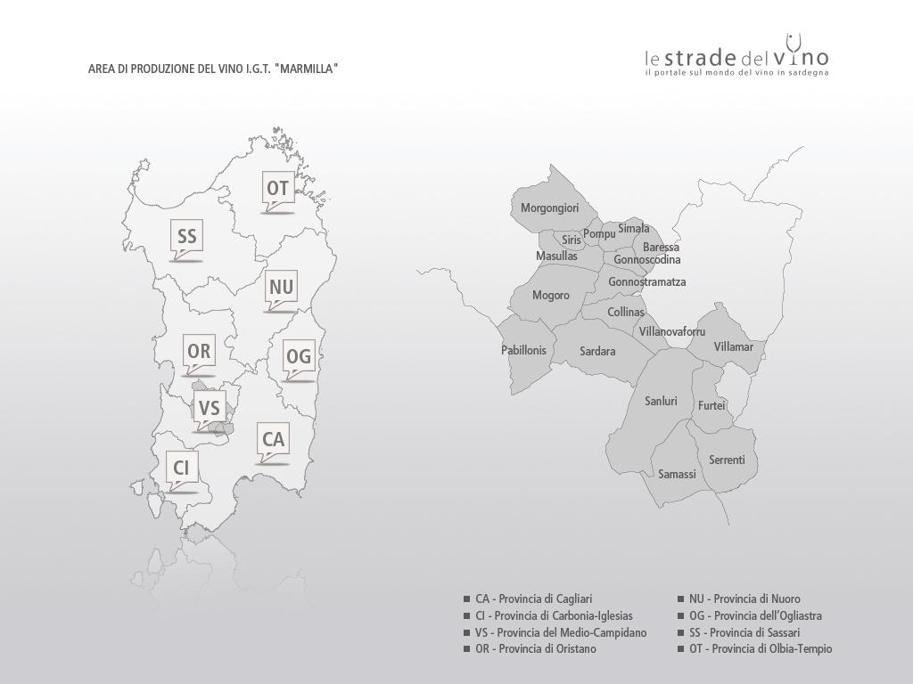 Mappa area di produzione del vino IGT Marmilla