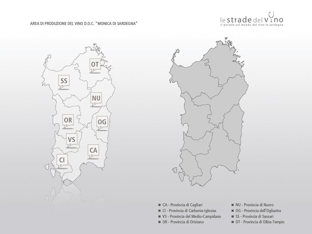 Mappa area di produzione del vino DOC Monica di Sardegna