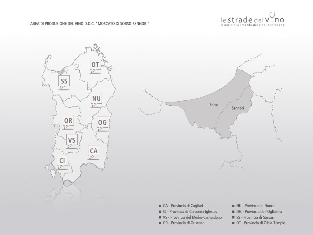 Mappa area di produzione del vino DOC Moscato di Sorso Sennori