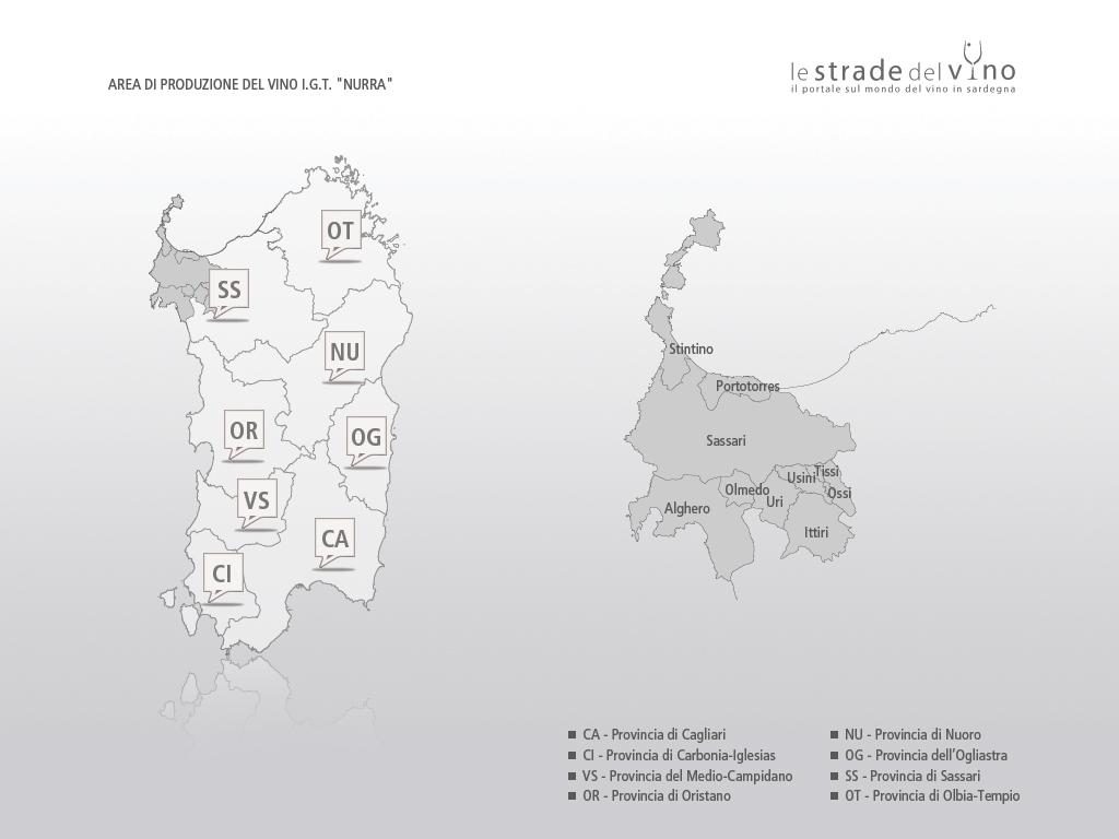 Mappa area di produzione del vino IGT Nurra