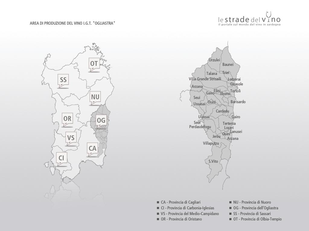 Mappa area di produzione del vino IGT Ogliastra