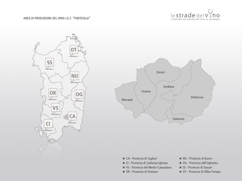 Mappa area di produzione del vino IGT Parteollla