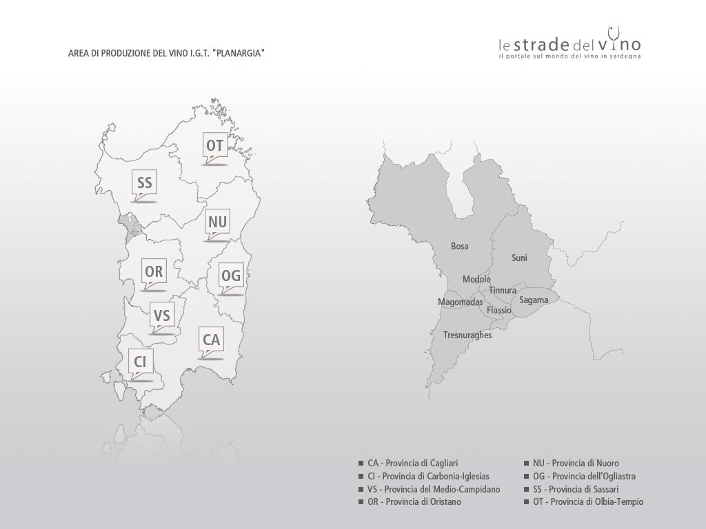 Mappa area di produzione del vino IGT Planargia