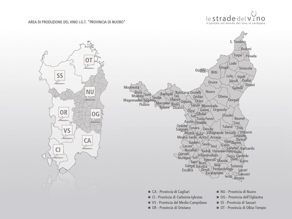 Mappa area di produzione del vino IGT Provincia di Nuoro