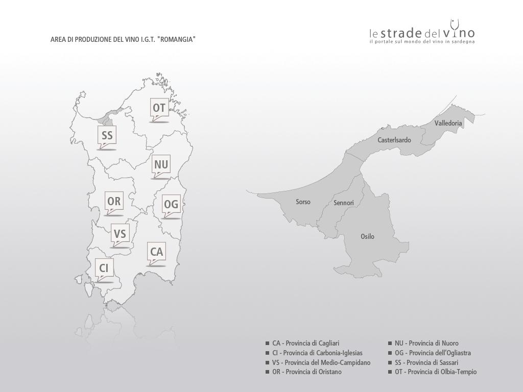 Mappa area di produzione del vino IGT Romangia