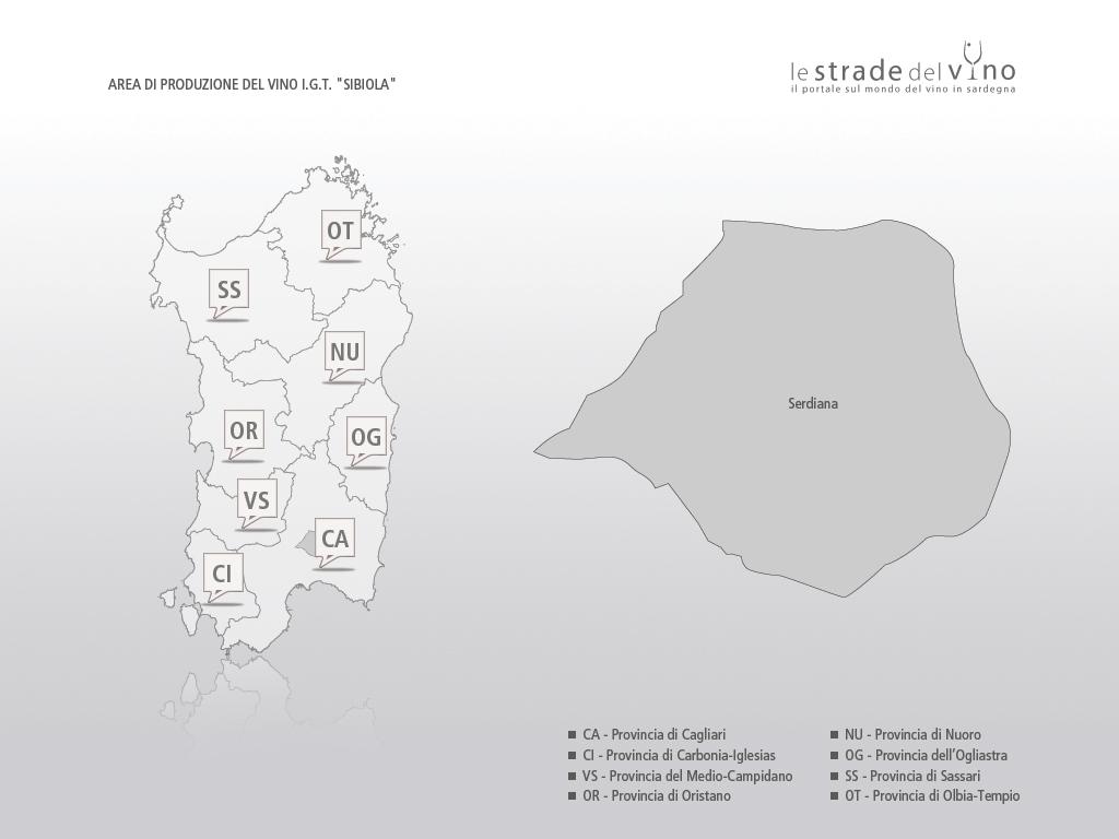 Mappa area di produzione del vino IGT Sibiola