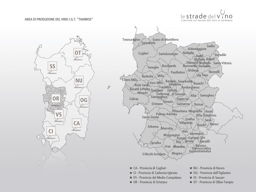 Mappa area di produzione del vino IGT Tharros