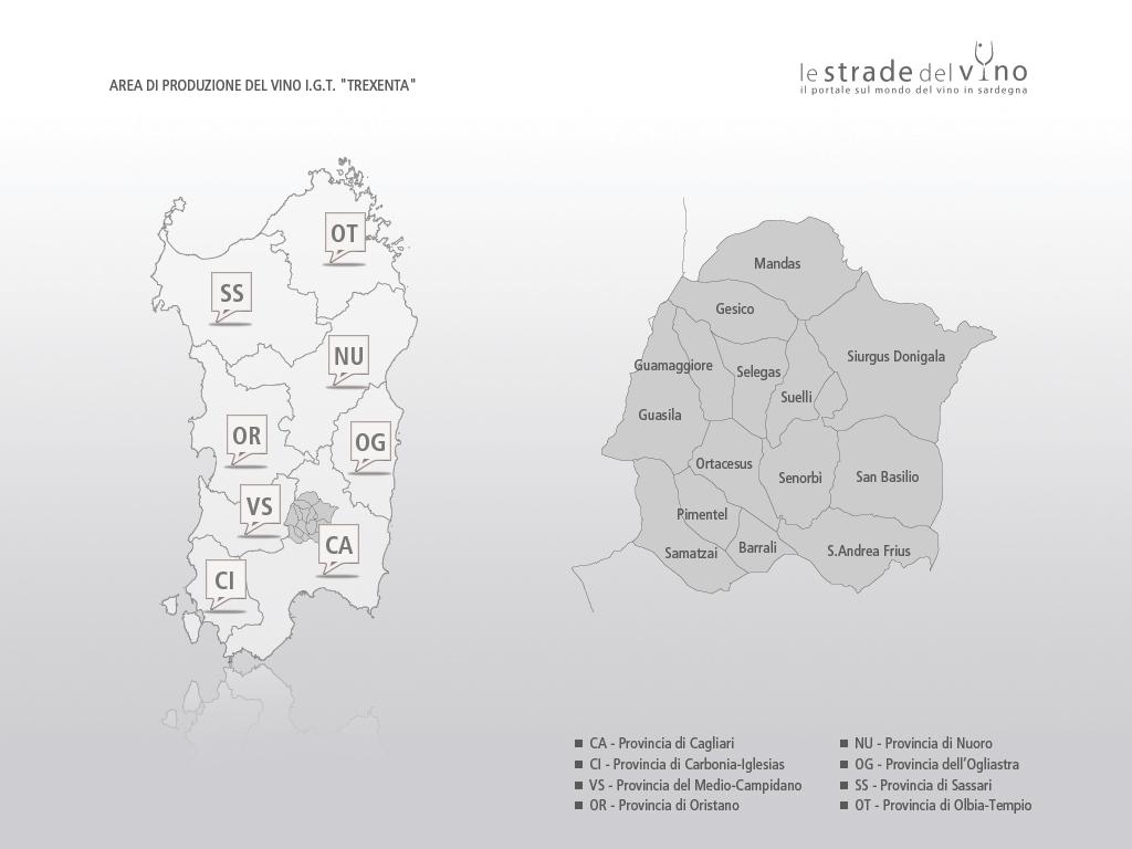 Mappa area di produzione del vino IGT Trexenta