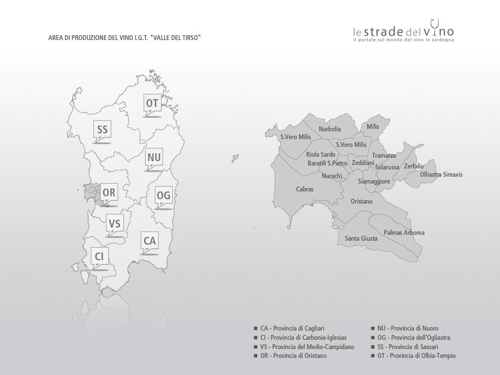 Mappa area di produzione del vino IGT Valle del Tirso