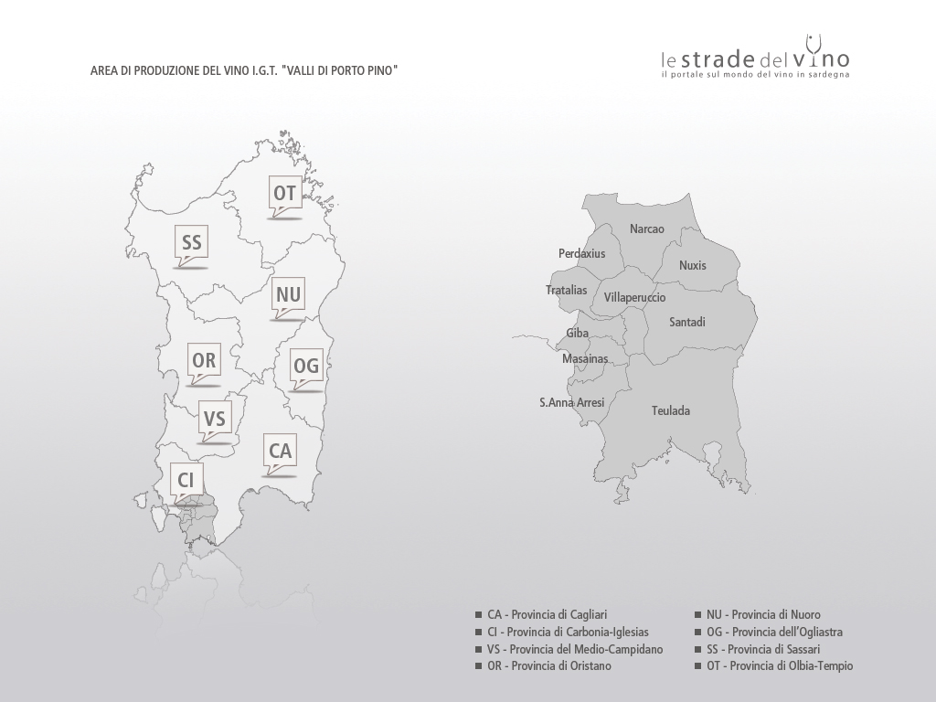 Mappa area di produzione del vino IGT Valli di Porto Pino