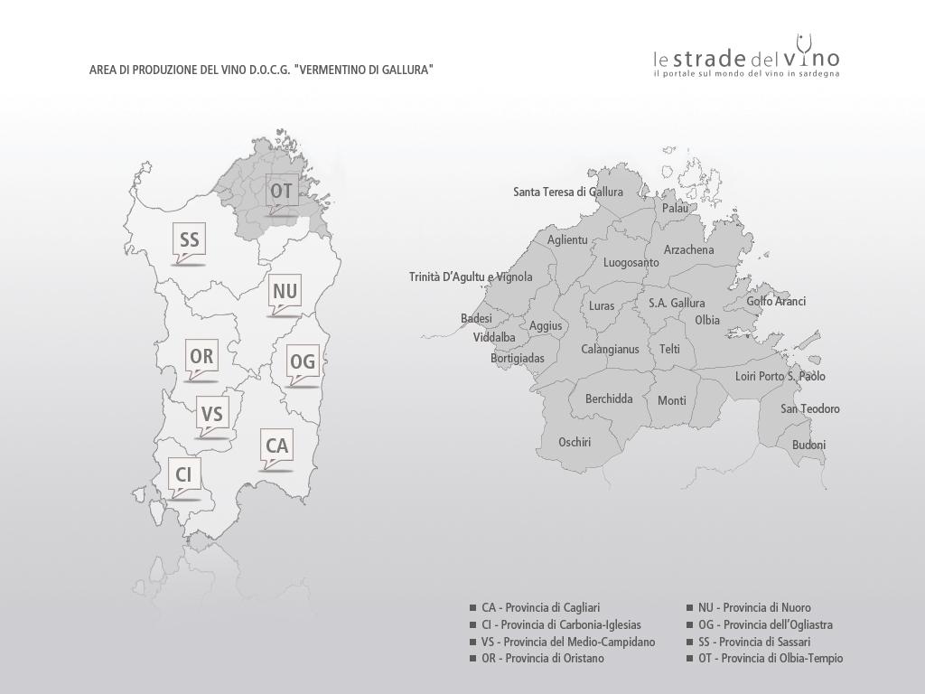 Mappa area di produzione del Vermentino di Gallura DOCG