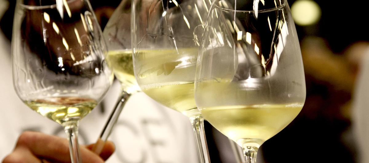Brindisi con calice di vino bianco