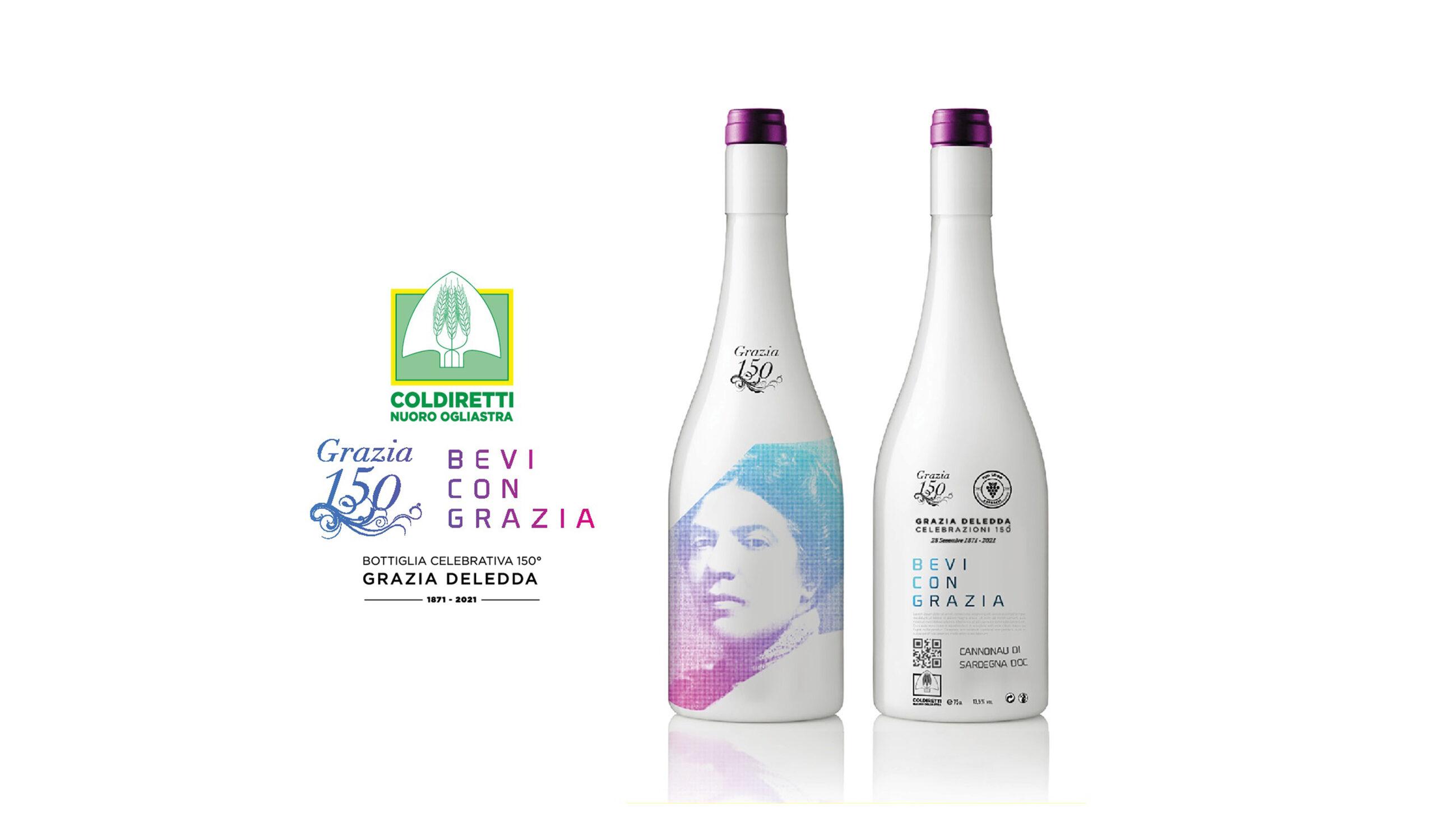 Bottiglia vino dedicata a Grazia Deledda