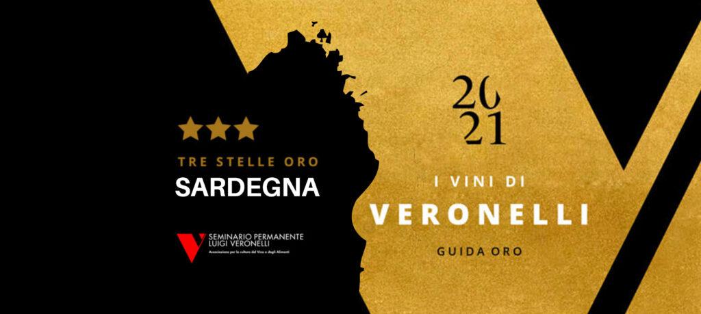 """Logo Tre Stelle Oro della Guida """"I Vini di Veronelli - Sardegna"""